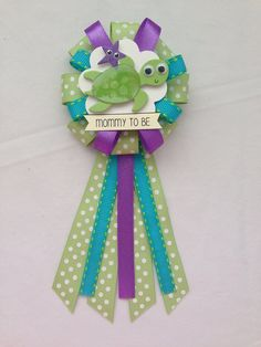 Mommy to be ribbon corsage for baby shower - gender neutral - sea turtle by KatrinaInvites