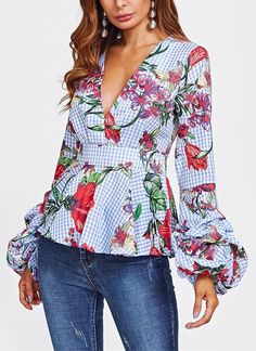 Sleeve Length(cm):Full Sleeve Style: Puff Sleeve Collar: V-Neck Fabric Type: Broadcloth Style:Sexy & Club Clothing Length: Regular Material: Polyester Fabric: Fabric has no stretch Club Outfits, Blouse, Sleeve Styles, Floral Tops, Latest Trends, Bell Sleeve Top, My Style, Womens Fashion, Model