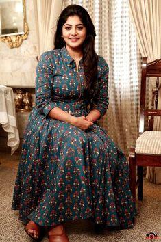 Indian dresses for women - manjima mohan new stills Long Dress Design, Dress Neck Designs, Blouse Designs, Indian Designer Outfits, Designer Dresses, Indian Dresses For Women, Kalamkari Dresses, Long Skirt Outfits, Kurta Neck Design