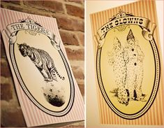 Circus themed bathroom signs (clowns for the men & tightrope walkers for the women). :)