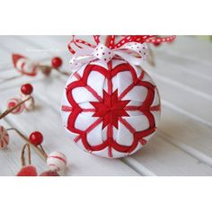 red and white candy christmas ornament