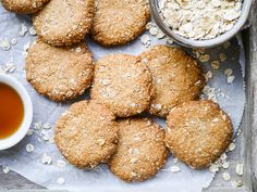 This easy buckwheat ANZAC cookies recipe is gluten free, dairy free and nut free. A simple vegan cookie with that classic combo of oats and coconut!