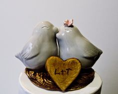 Gray Love Bird Cake Topper by danceswithclay on Etsy, $50.00