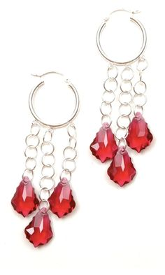 Earrings with Swarovski Crystal Ruby Baroque Drops