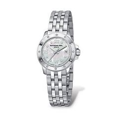 Raymond Weil Women's 5399-ST-00995 Tango Stainless Steel Bracelet Watch Raymond Weil. $899.95. Polished with Brushed Stainless Steel case. Quartz movement. White Mother of Pearl with Roman Numeral and 8 Diamond Hour Markers, Date at 3 dial. 28mm case dimension. Brushed and Poished Stainless Steel band. Save 14%!