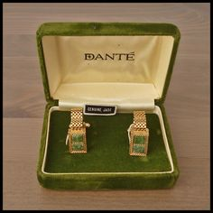 "DANTE Vintage NOS Pair Yellow Gold Mesh Wraparound Cufflinks ""JADE Stones"" Boxed"