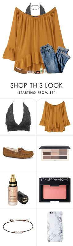 """bla"" by mmprep ❤ liked on Polyvore featuring Charlotte Russe, MANGO, J.Jill, UGG, H&M, Gucci and NARS Cosmetics"