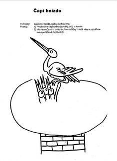 Čapí hnízdo - dolepit vlnu, seno, proužky papíru...