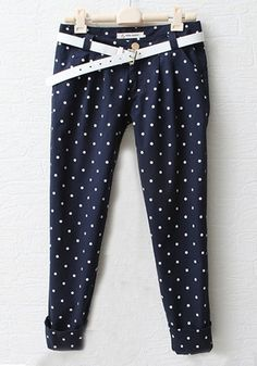 Navy Polka Dot Low Waist Cotton Blend Pants