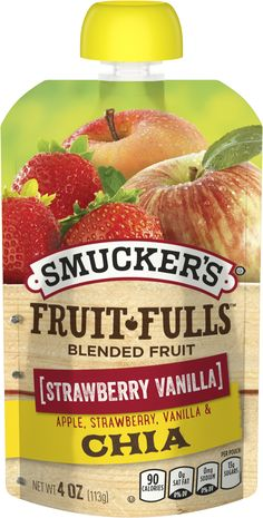 Fruit-Fulls® Blended Fruit Apple Cobbler with Oats Jam Sandwiches, Fruit Pouches, Vanilla Fruit, Apple Cobbler, Apple Fruit, Strawberry, Foods, Snacks, Animals Beautiful