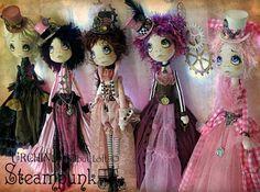 Steampunk cloth Art Dolls by Vicki at Lilliput Loft
