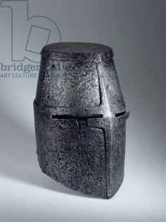 Great helm, 13th century (iron); The great helm or heaume of the High Middle Ages arose in the late twelfth century in the context of the crusades and remained in use until the fourteenth century.