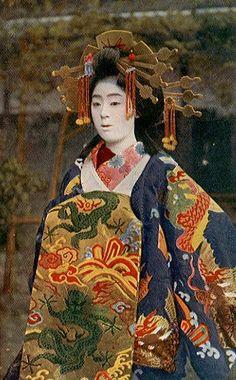 Oiran (hand-cplored print, likely late 19th century), ethnoworld: Japan