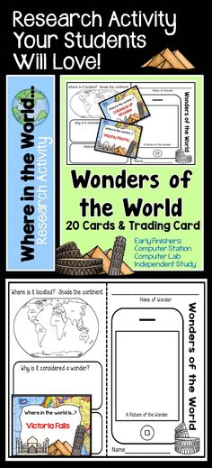Research Project - Wonders of the World Computer Lab Lessons, 5th Grade Classroom, Classroom Ideas, Genius Hour, Classroom Management Tips, Reluctant Readers, Early Finishers, Book Week, Teaching Resources