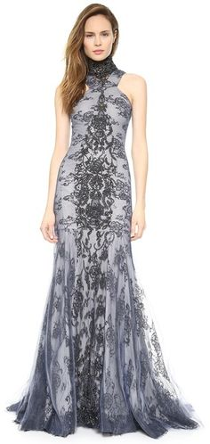If I ever get married again... Wes Gordon Beaded Mesh & Lace Gown
