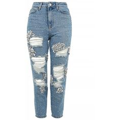 Topshop Moto Limited Edition Gemstone Super Rip Mom Jeans (335 RON) ❤ liked on Polyvore featuring jeans, pants, bottoms, topshop, high waisted destroyed jeans, high waisted jeans, high rise jeans, white distressed jeans and white destroyed jeans