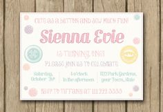 baby girl birthday invite, first 1st birthday, cute as a button, sew cute, printable, vintage, PROOF in under 48hrs FAST TURNAROUND on Etsy, $14.00