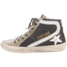 Pre-owned Golden Goose Slide High-Top Sneakers ($245) ❤ liked on Polyvore featuring shoes, sneakers, blue, golden goose sneakers, leather high tops, star sneakers, lace up shoes and high top shoes