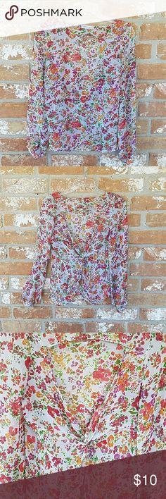 "Sheer floral Print Open Back S 23"" length (shoulder to hem, armpit to armpit 17"" Ambiance Apparel Tops Blouses"
