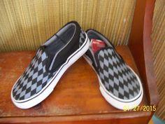 Little Boys Shoes Size 12 Canvas Slip Ons Gray Grey Black Diamonds Design NEW #FadedGlory