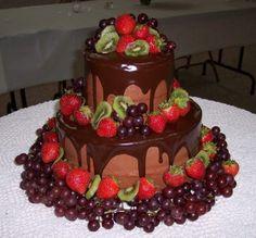 Fruit and Chocolate Wedding Cake