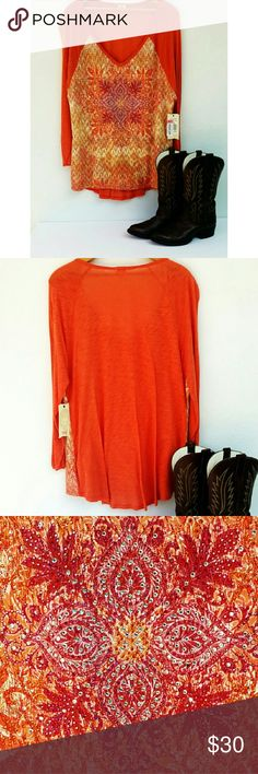 Reba Plus Horizon Orange Crush Collection From the Reba Horizon Orange Crush collection, this dress features:  -headstone embroidery -v-neckline -pullover style  -3/4 sleeve -hand wash inside out  -lay flat to dry Reba Tops Blouses
