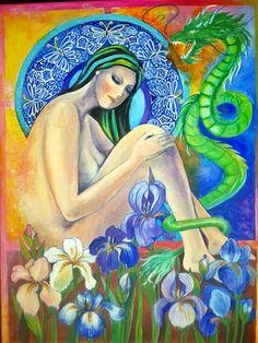 Eve and the Serpent - Éva és a kigyó -  Acrylic on canvas - 30 x 40 cm  - By Márta Bolla - Hungary