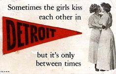 Photo and Felt Applique Postcard Detroit, Vintage Lesbian, I Kissed A Girl, Our Friendship, I Think Of You, Felt Applique, Edwardian Fashion, Vintage Postcards, Pop Culture