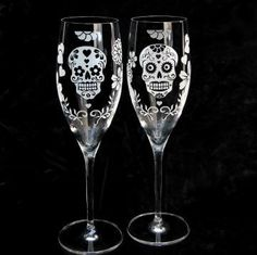 Personalized Day of the Dead Champagne Flutes