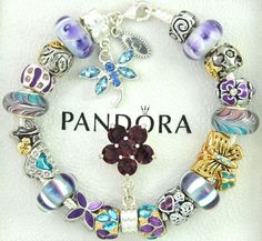 Authentic pandora sterling silver charm bracelet purple blue butterfly dragonfly #Pandoralobsterclaspclaw #European