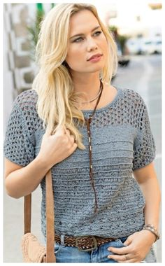 This model is nice to knit and wear! Crochet Wool, Crochet Blouse, Summer Knitting, Vintage Knitting, Summer Tops, Crochet Clothes, Pulls, Types Of Sleeves, Short Sleeves