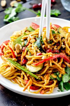 Easy 25 Minute Spicy Thai Pumpkin Noodles (with chicken option) - Powered by @ultimaterecipe