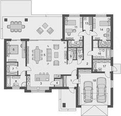 Rzut parteru projektu Domena 109 B Lake House Plans, Best House Plans, Duplex Floor Plans, Chula, Architect House, Home Design Plans, Home Fashion, Modern House Design, Luxury Homes