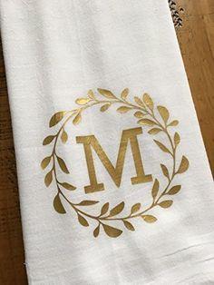Monogrammed Kitchen Towel - Personalized Towel - Gold Monogram - Laurel - Custom Wedding Engagement Bridal Shower Gift - For the Couple Monogram Towels, Personalized Towels, Letter Monogram, Vinyl Projects, Craft Projects, Monogram Machine, Stencil Designs, Vinyl Designs, Fabric Stamping