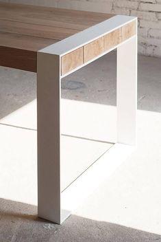 Welded Furniture, Timber Furniture, Steel Furniture, Industrial Furniture, Diy Furniture, Furniture Design, Wood Steel, Wood And Metal, Solid Oak Table