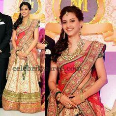 Bride in Cream Half Saree | Saree Blouse Patterns