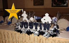 Baseball (Yankees ) candle lighting board, mitzvah Centerpieces sports theme Triad NC