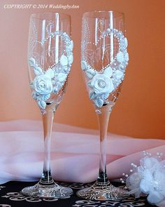 Personalized Wedding Champagne  Glasses, Handmade Toasting Flutes, Set of 2                                                                                                                                                      More