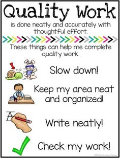 Encouraging Quality Student Work anchor charts and reflection FREEBIE! Behavior Management, Classroom Management, Wilson Reading Program, Early Intervention Program, Kindergarten Anchor Charts, Classroom Organization, Organization Ideas, Classroom Setup, School Motivation