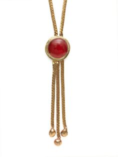 Rafael Red Blown Glass Disc & Brass Tassel Pendant Necklace by House of Lavande