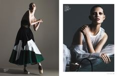 Ola is photographed in ballerina shoes and a full skirt