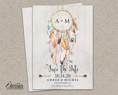 Rustic Bohemian Style Save The Date With Dreamcatcher | DIY Printable Boho Save The Dates | Tribal Dream Catcher Wedding Save The Date Cards by iDesignStationery on Etsy