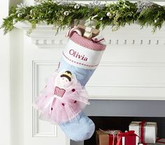 Pink Ballerina Quilted Stocking | Pottery Barn Kids