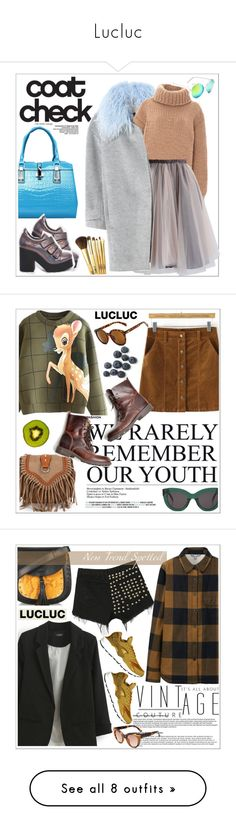 """""""Lucluc"""" by teoecar ❤ liked on Polyvore featuring Rebecca Taylor, I Love Mr. Mittens, Chicwish, EEight, Retrò, coolcoat, CÉLINE, Uniqlo, Chloé and NIKE"""