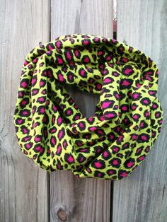 Green and Pink Leopard Print Infinity Scarf Lime by PrimalVogue, $22.99
