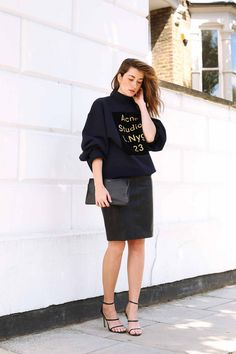 The idea of wearing a leather skirt might be a little daunting, but these  bloggers prove that it can be chic. Pair a leather mini with a striped sweater and lac