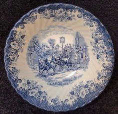 Set 5 Johnson Brothers Bros Coaching Scenes Bread Plates Hunting Country Blue EC