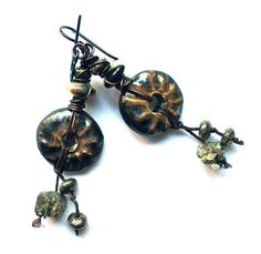 Hey, I found this really awesome Etsy listing at https://www.etsy.com/listing/255799173/boho-rustic-earrings-natural-pyrite