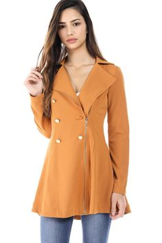 91a215ce16 Salt Tree Women s Zipper Front Button Detail Long Sleeve Chiffon A-Line Coat