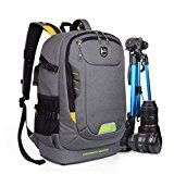 Abonnyc Dslr SLR Camera Backpack Rucksack Bag Case Shockproof Waterproof for Canon Nikon Sony Panasonic Olympus Pentax and Accessories Grey